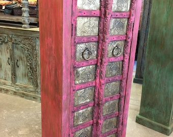 Antique Indian Pink Armoire Jaipuri Brass Camel Carved Wardrobe Cabinet Interiors Design
