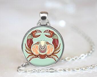 Zodiac Signs Cancer Glass Pendant, Photo Glass Necklace, Glass Keychain, Glass Jewelry