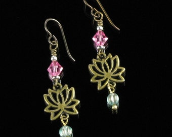 Lotus Earrings, Brass Yoga Jewelry, Dangle Earrings, Green & Pink Boho Earrings, Niobium earrings, Unique Spiritual Jewelry Buddhist Gift
