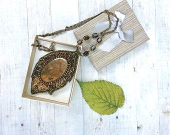 Pendant with jasper Tree leaf