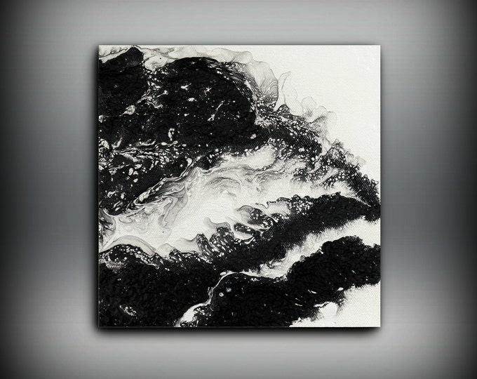 """Tiny Painting Oil Paintings Abstract Small Wall Art Canvas Black and White Home Decor Small Canvas Art Little Painting Gift for Her 8"""" x 8"""""""