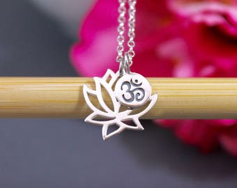 Lotus Flower Ohm Necklace - Sterling Silver Lotus Necklace - Yoga Necklace