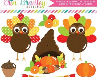80% OFF SALE Thanksgivng Turkeys Holiday Clipart Graphics with a Cornucopia Bunting Acorn Flowers and Pumpkin Digital Clipart Commercial Use