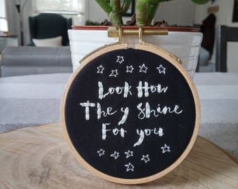 Look How They Shine For You Embroidery Hoop Art, 3 Inch Wooden Hoop, Hand Stitched Embroidery, Stars and Lettering, Wall Decor, Home Decor