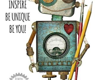 Robot Printable, Robotics robot, Art Room decor, Words of Encouragement, Classroom robot, Robot boys room, Robot nursery, Robin Davis Studio