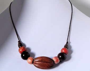 Ceramic and Wood...... Beaded Necklace