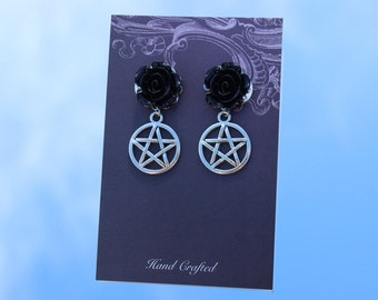 Goth Earrings, Gothic Flowers, Dark Earrings, Pentagram Earrings, Pentacle Earrings, Star Earrings, Pagan Earrings, Silver Colour, Black