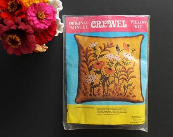 Vintage Original Minuet Crewel Pillow Kit Unopened NOS Floral and Foliage Autumn Fall 1970s Colors Brown Orange Yellow