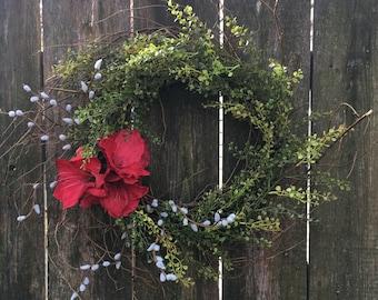 Front Door Wreath Mother's Day Wreath Outdoor Decor Farmhouse Wreath Everyday Wreath Summer Wreath Outdoor Wreath Amaryllis Wreath Shabby