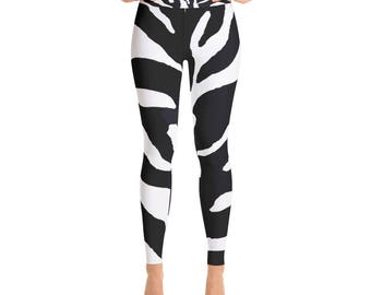 Zebra Animal Horse Print Black White Artistic Yoga Pants Leggings