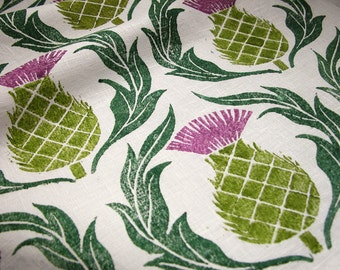 Scottish Thistle hand block printed linen 1/2 yard