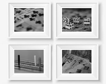 """Man Cave Decor, Man Cave Wall Art, Man Gift, Dad Gift, Father, Black, Digital Download Photography, Games Room, Photo Set,  """"Game Night"""""""