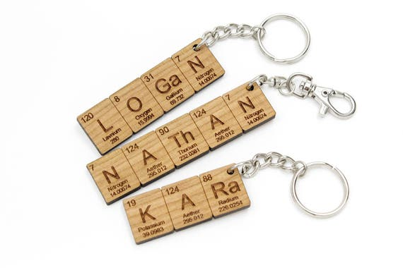 Custom name periodic table chemistry keychain cool science or like this item urtaz Image collections