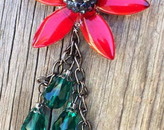 ON SALE:  Red Flower Statement Necklace on Gunmetal Chain with Green Teardrop Bead Dangle, Floral Necklace, Black Chain Necklace,