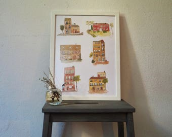 House nº 3 in the winter street - Six Houses - Print Din A3 - Illustration with Watercolours