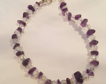 Amethyst Nugget & Bead Bracelet