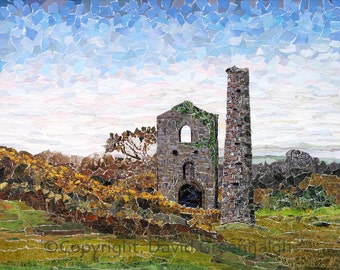Cornish Tin Mine. - Signed Fine Art Giclée print of an original torn paper collage. Traditional disused mine building, landscape,