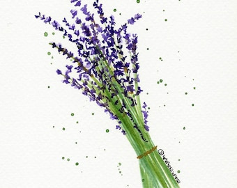 Lavender Flowers Watercolor Notecards - No.  1000   Lavender