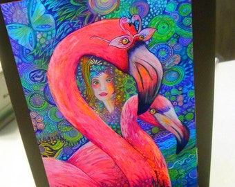 greeting card print of original art-  flamingo mob #1 Zentangle spirit animal