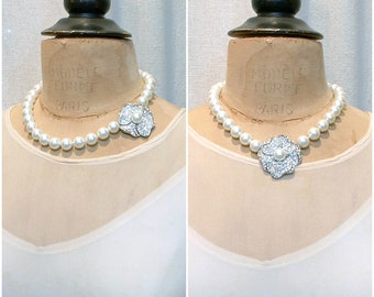 Vintage KJL Art Deco Pearl Necklace, Rhinestone Pearl Bridal Choker, KENNETH LANE Glass Ivory Pearl Ornate Flower Clasp Statement Designer