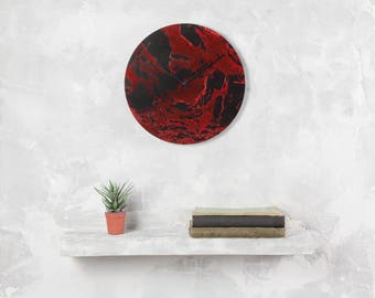 Big red wall clock, Unique clock, hand painted clock, office clock, gift for her, red wall decor, red wall art, red and black, moms gift