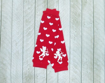 Red heart baby legs embellished with cupid