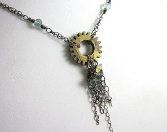 Vintage Brass Gear and Silver Dangle Necklace with Aquamarine and Opal