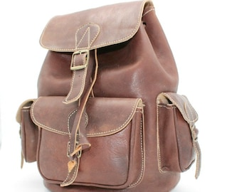 Brown Leather Backpack, Handmade Backpack, Mens Backpack leather, Womens leather backpack ,leather rucksack ,sac a dos cuir marron