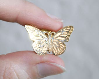 Gold Butterfly Lapel Jacket Pin