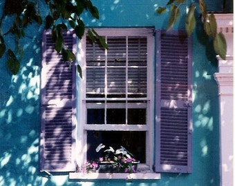 Charleston Window - Tropical Hideaway - Aqua Wall, Lavender Shutters, Flower Box - Original Color Film Photograph by Suzanne MacCrone Rogers