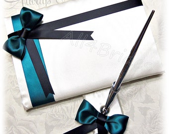 Black and Teal wedding guest book and pen set.