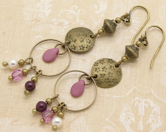 Boho Style Earrings with Long Pink Drops and Brass Discs and Hoops