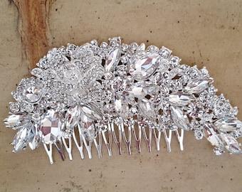 Gatsby Wedding Hair Comb, Crystal Bridal Hair Comb, Art Deco Wedding Hair Piece,  Bridal Hair Accessory