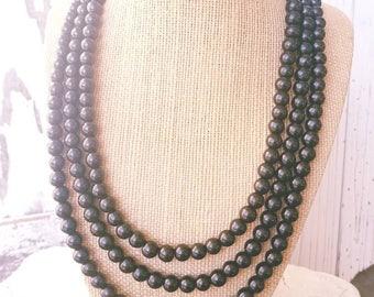 Black Necklace. Black Howlite Chunky Necklace. Multi Strand Black Bib Necklace. Black Jewelry. Black Jewelry. Black Bridesmaids Jewelry