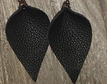 BLACK Leather Earring Petals BOHO  MODERN Designed by Heather Nickel Free