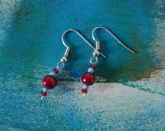 Earrings red and blue girl