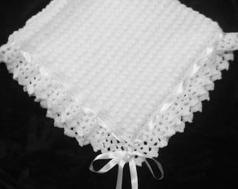 White Crocheted Christening Blanket