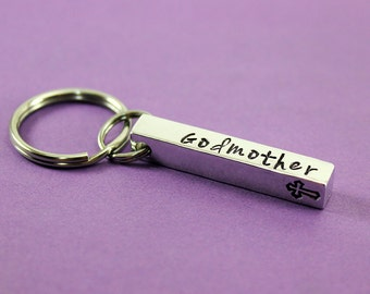 Personalized Bar Keychain - Custom Stamped 4 sided Bar Keychain - Godparent Gift - Names Dates Words - Godmother Gift - Godfather Gift