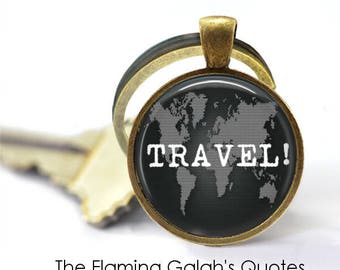 World map keyring etsy traveller quote nomad adventure awaits just go world map quote key ring key chain gift under 20 made in australia k357 gumiabroncs Gallery