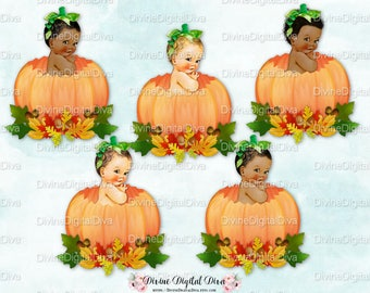 Pumpkin Patch Vintage Baby Boy Sitting in a Pumpkin Fall Leaves Acorns | 3 Skin Tones | Clipart Instant Download