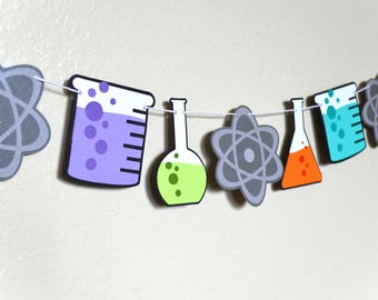 Birthday Party Garland Banner | Photo Shoot Prop | Party Decor | Mad Scientist Theme | Science Chemistry Theme