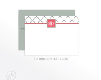 Personalized Flat Note Cards, Custom Monogrammed Stationery Set, Monogram Thank You Notes, Classic Chic Monogram Notecard Set with Envelopes