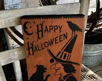 Happy Halloween, Vintage Halloween  Sign, Halloween Sign, Witch Sign, Primitive Halloween