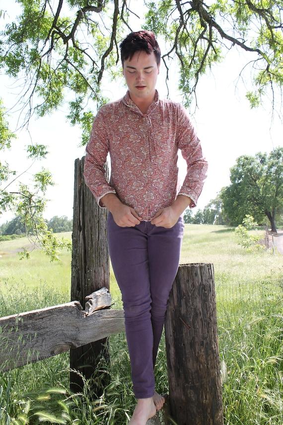 PAISLEY Button Down Shirt  Vintage 1970's Blouse Rose Floral Print Crochet Lace Trim