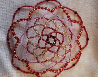 Red and Pink Beaded Kippah/ Yarmulke