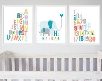 Elephant Nursery Prints Set of 3, Personalised Nursery Art, 123 Numbers Name ABC Alphabet Print, Elephant Nursery Art Boys Light Blue Grey
