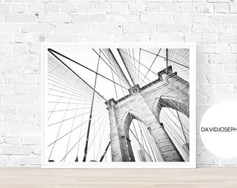New York Print, Brooklyn Bridge Print, New York Photography, Modern Minimalist, Manhattan Print, Digital Download, Black and White