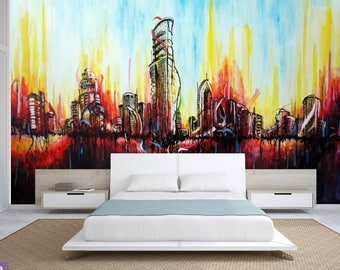 City ABSTRACT MURAL Art Abstract Wall Mural Painting Wallpaper Self Adhesive Vinly Paint