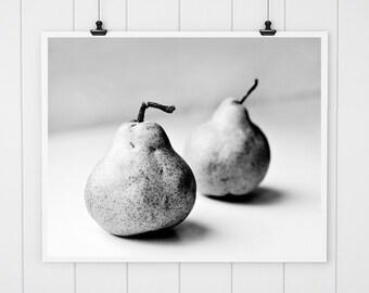 Kitchen decor, black and white pear print, black and white fine art photography, food photography rustic pear print, pear still life print
