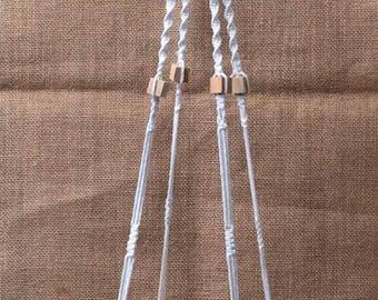 macrame hanger, home decor, bohemian, boho, modern, cotton, rope, knots, wood